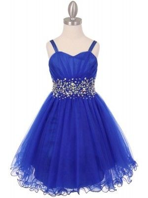 royal blue stunning tulle doubled strap rhinestone