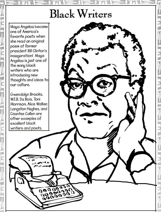 Lovely Black History Month Coloring Pages | Black History Coloring Pages: Maya  Angelou And Thurgood Marshall