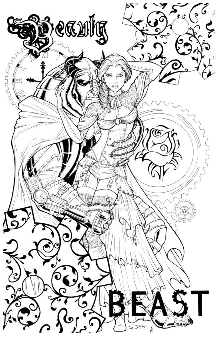 Steampunk Beauty And The Beast By Sorah Suhng Disney Coloring Pages Coloring Books Fairy Coloring Pages