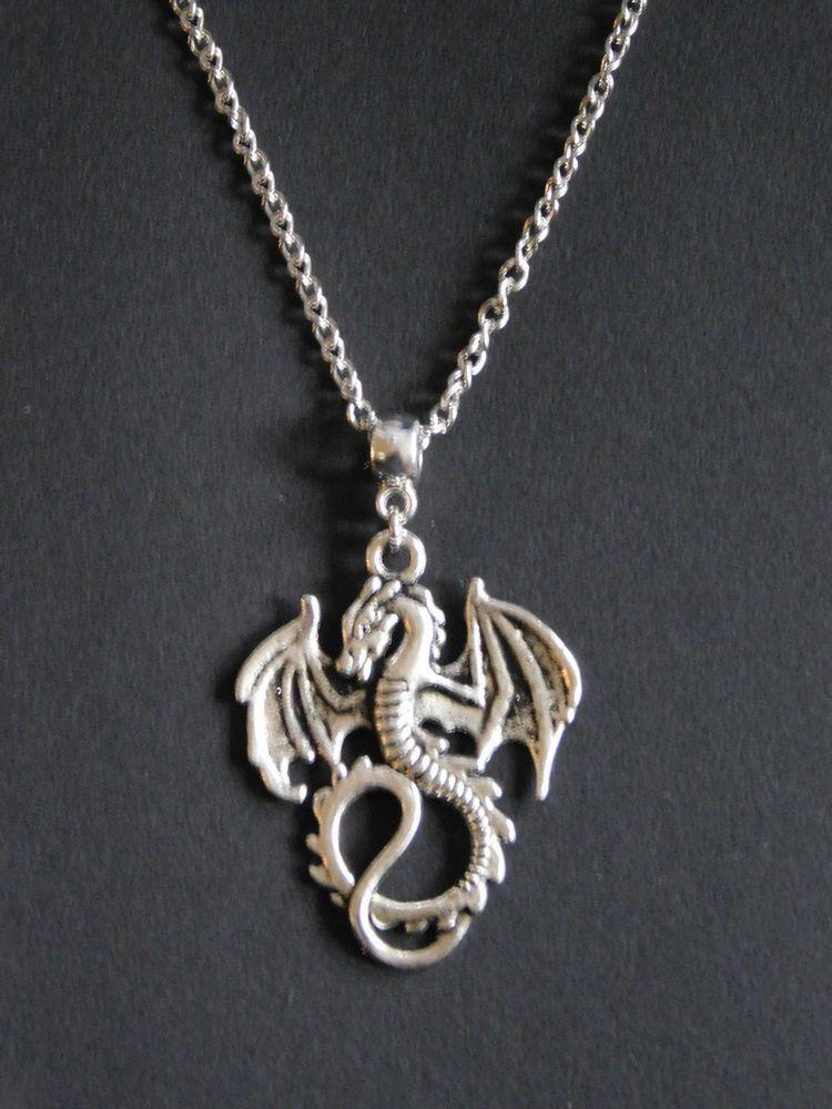 Dragon silver chain pendant necklace folklore gothic ebay dragon dragon silver chain pendant necklace folklore gothic ebay aloadofball Image collections