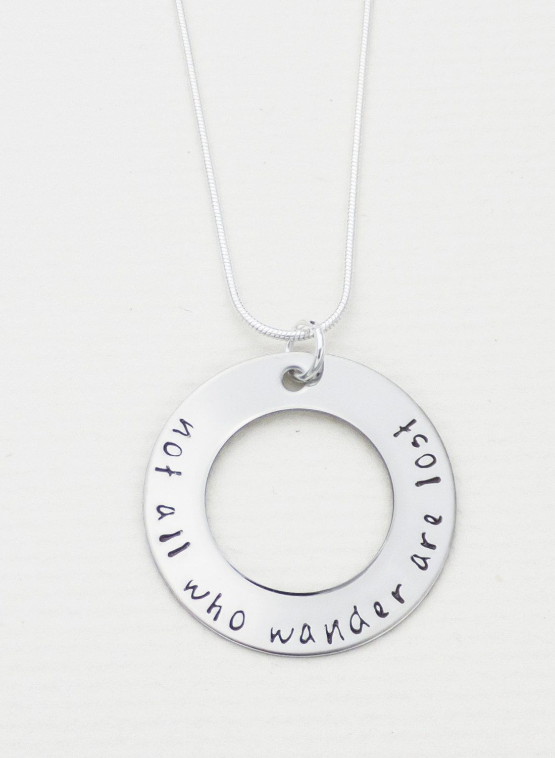 New to CathysCreationsJwlry on Etsy: Not All Who Wander Are Lost Inspirational Hand Stamped Washer - Hand Stamped Jewelry - Customizable - Birthstone Necklace - Personalized (25.00 USD)