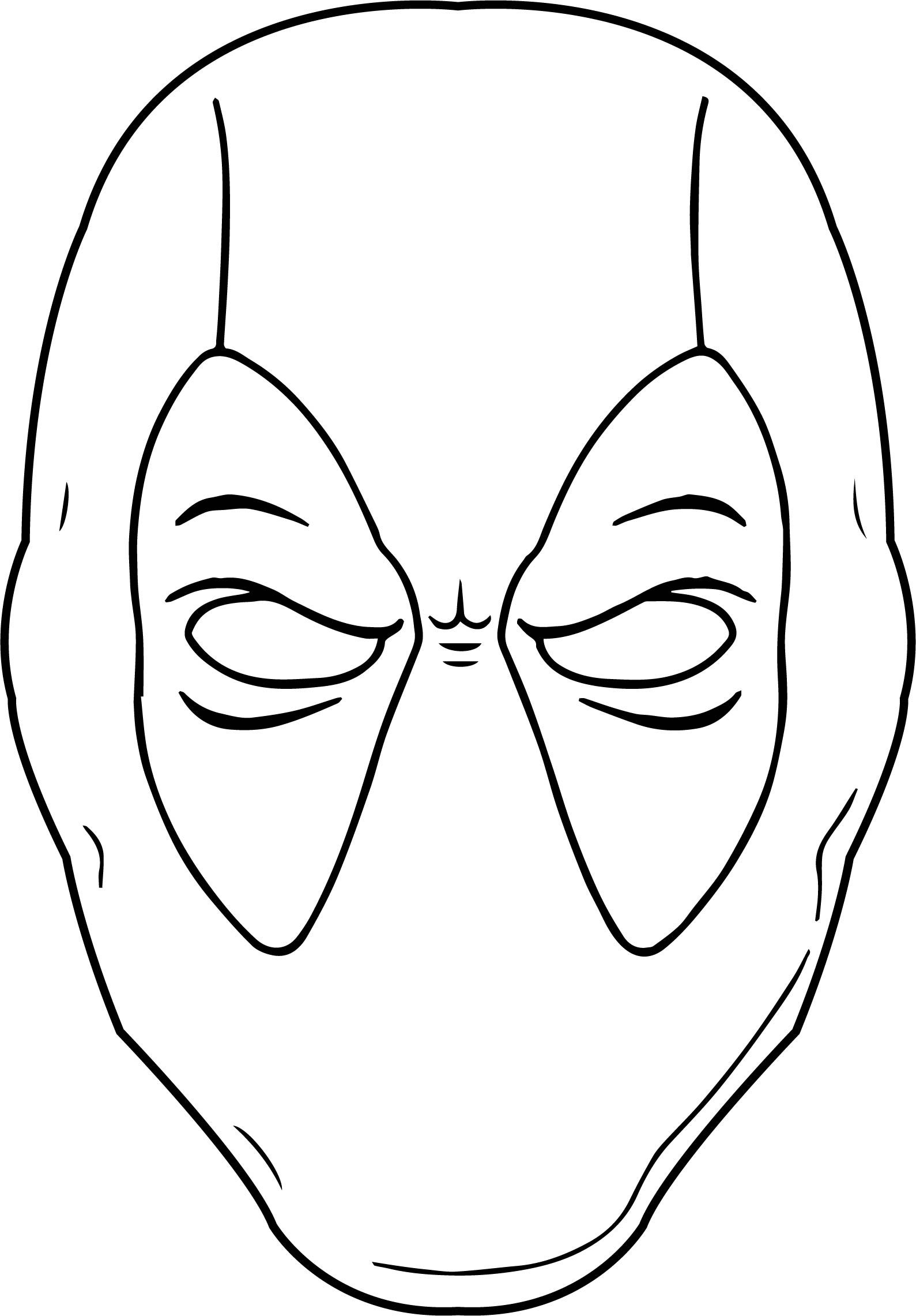Simple Deadpool Mask Coloring Page Chibi Coloring Pages Love Coloring Pages Cute Coloring Pages