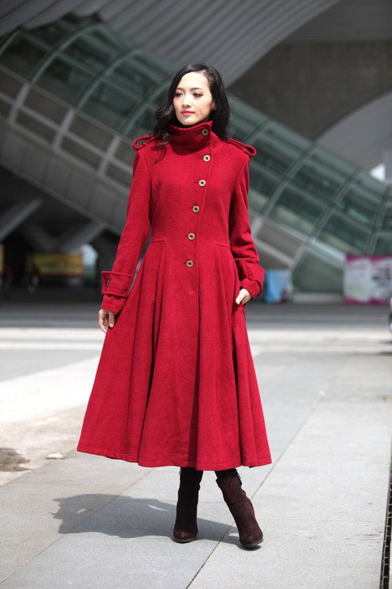 Wine Red Coat Big Sweep High Collar Women Wool Winter Coat Long ...