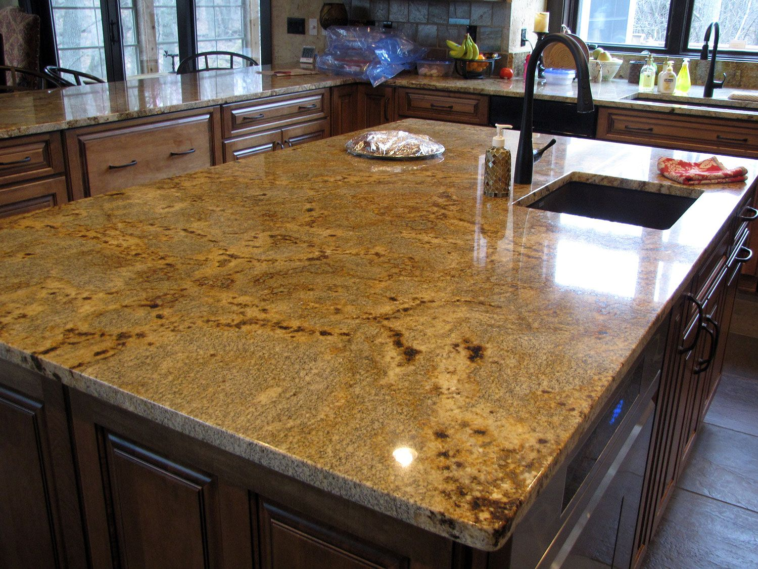 Golden Crystal Granite with square polished edge. Custom countertops ...