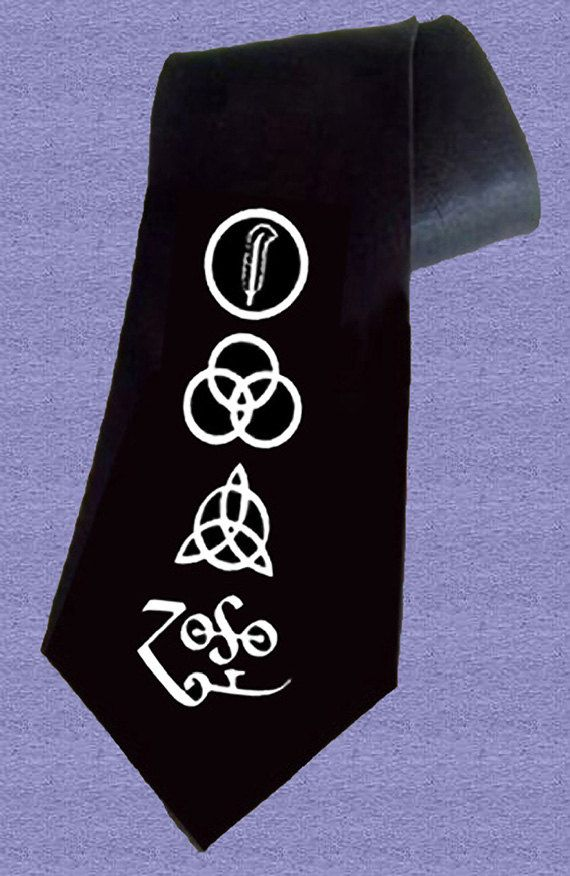 Led Zeppelin 4 Symbols Deluxe Art Unique Handpainted Necktie