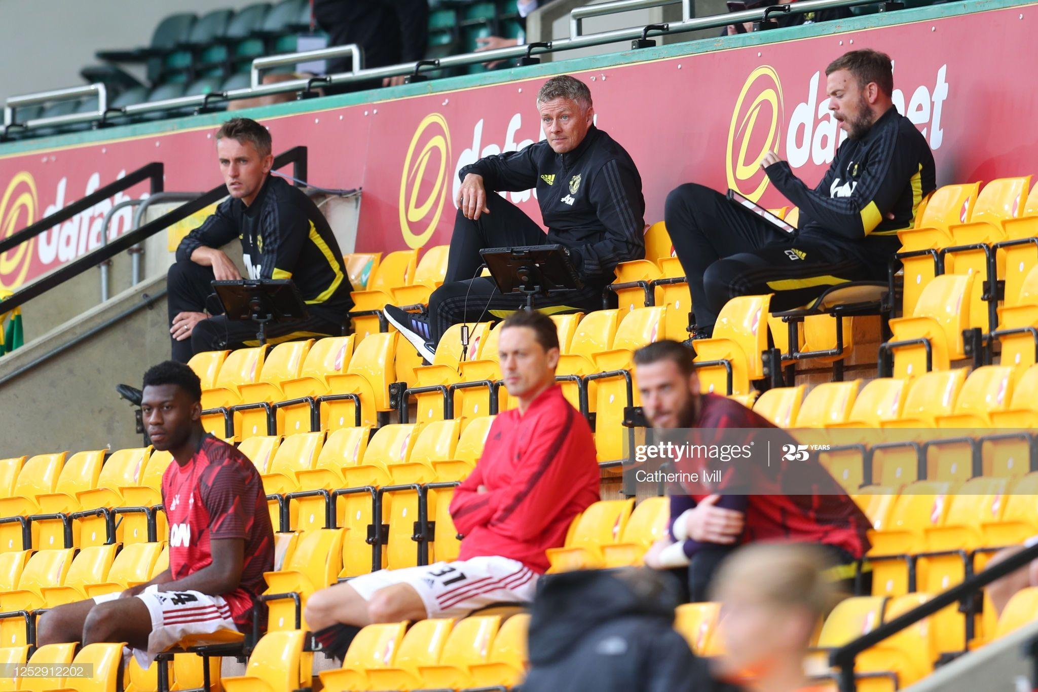Ole Gunnar Solskjaer Manager Of Manchester United Is Seen Sitting In In 2020 Ole Gunnar Solskjaer Manchester United Manchester