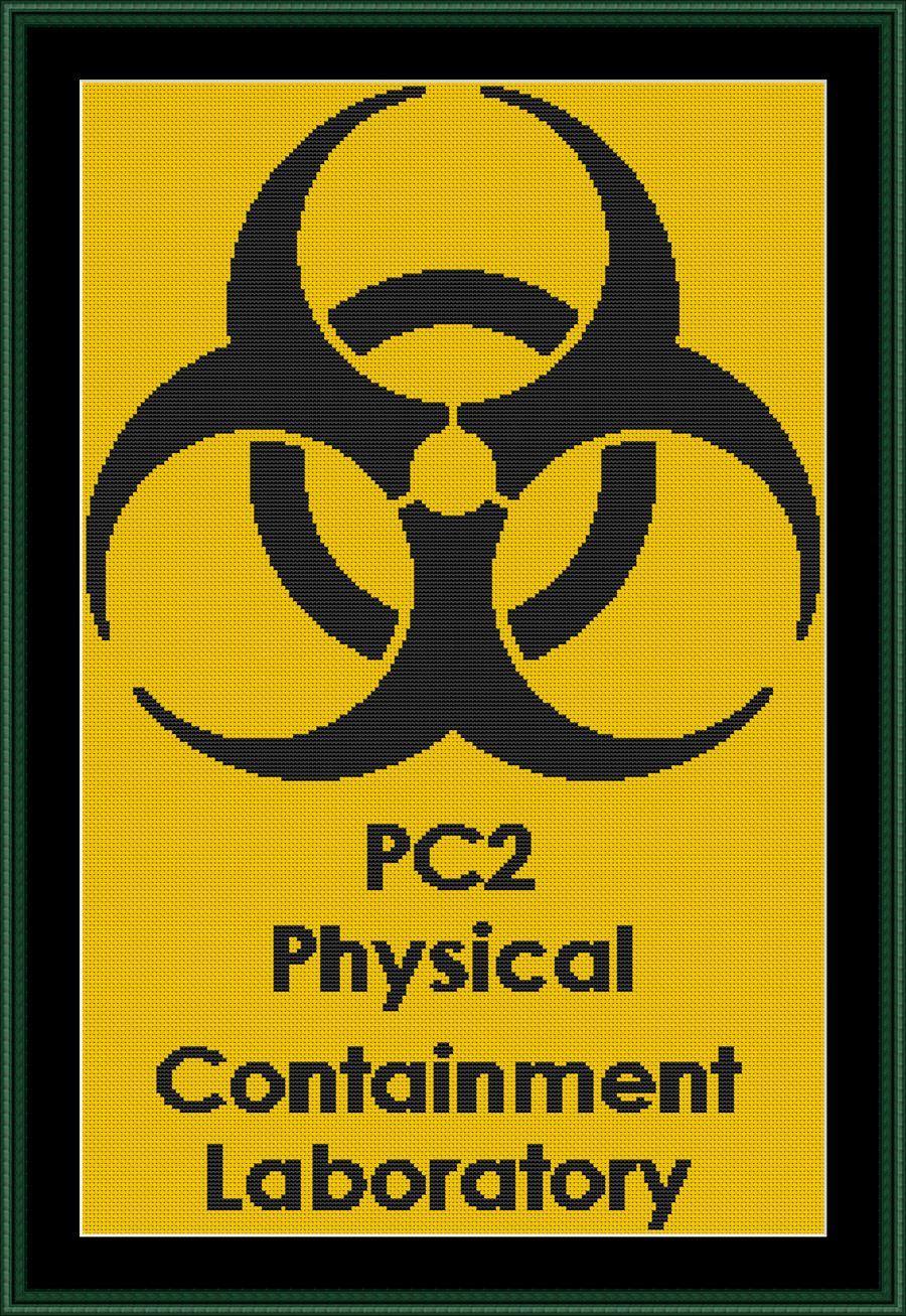 Medical biological hazard symbol counted cross stitch
