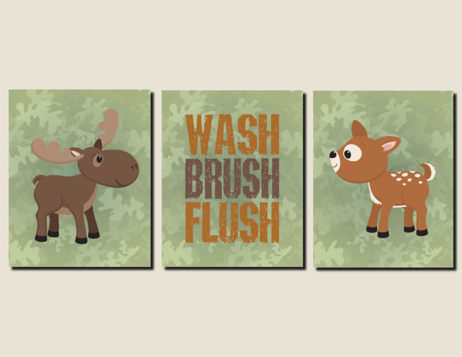 Woodland Animals Bathroom Wall Art for Kids Boy Bathroom Kids