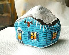 Snow (clickMYworld) Tags: blue schnee houses winter house snow rock stone painting klein rocks paint frost drawing stones painted small cott...