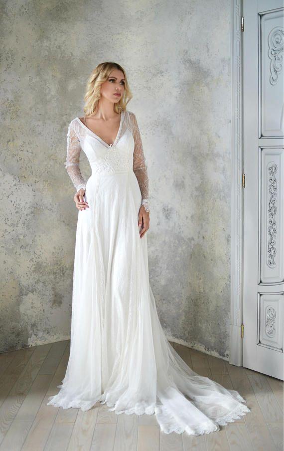 Diana lange Ärmel Spitze Brautkleid Stil 1801, böhmische Brautkleid ...