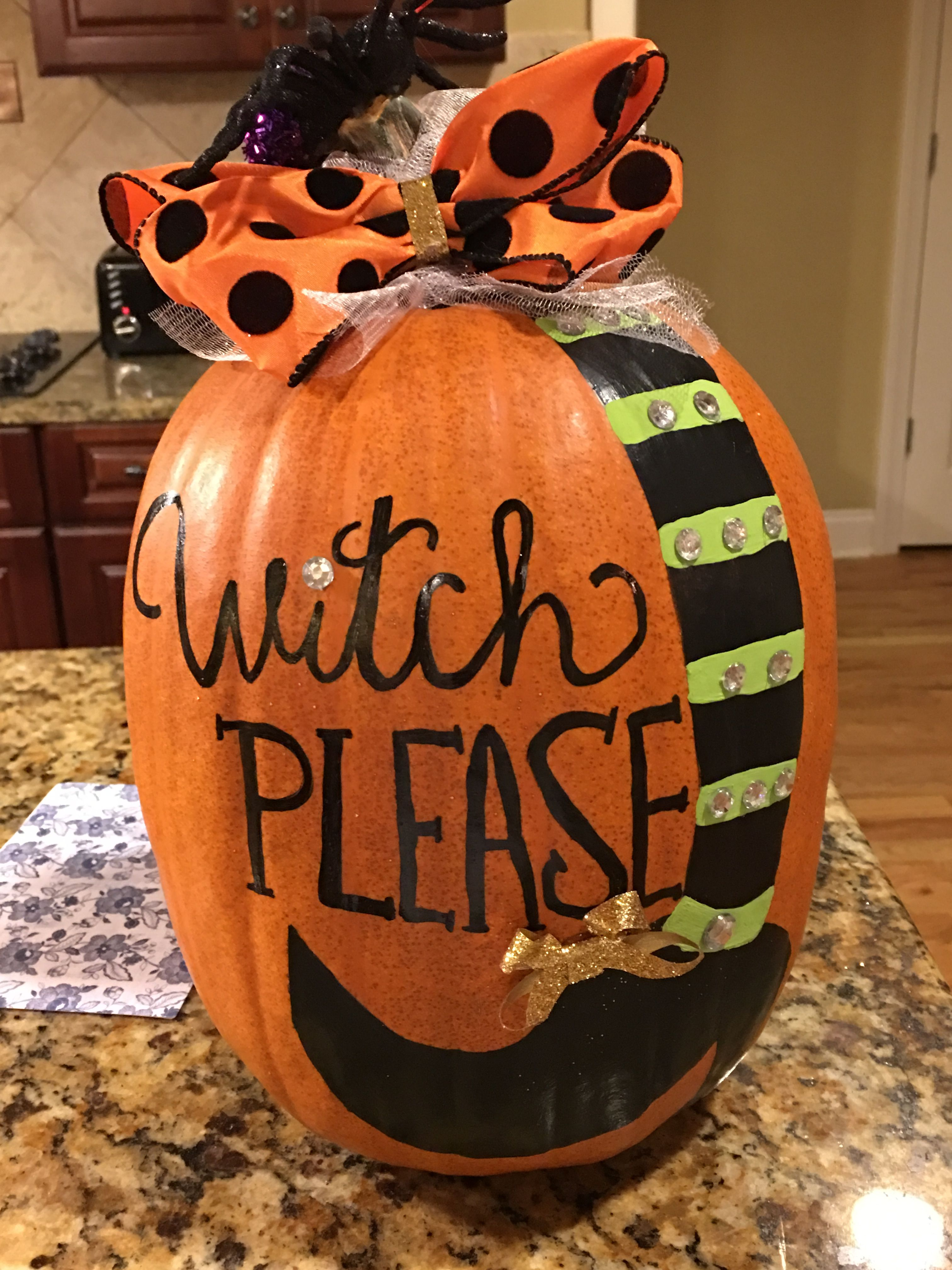 Witch please painted pumpkin!