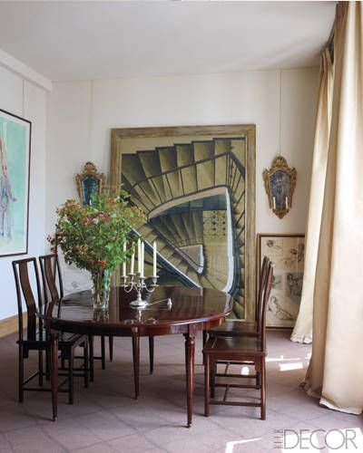 La Vie en Rose: A watercolor by Szafran behind a 19th­century English table and 18th­century Chinese chairs in the dining room.