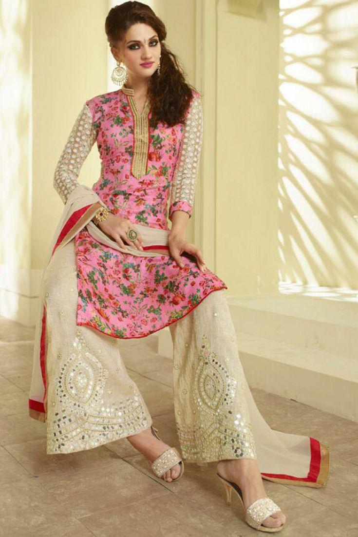 2bc8690f1b Pink #dupion #silk #kameez designed with floral print, zari, resham ...