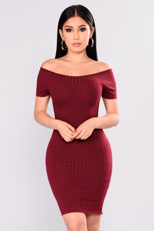 00e505fabe9f Pollyanna Off Shoulder Dress - Wine