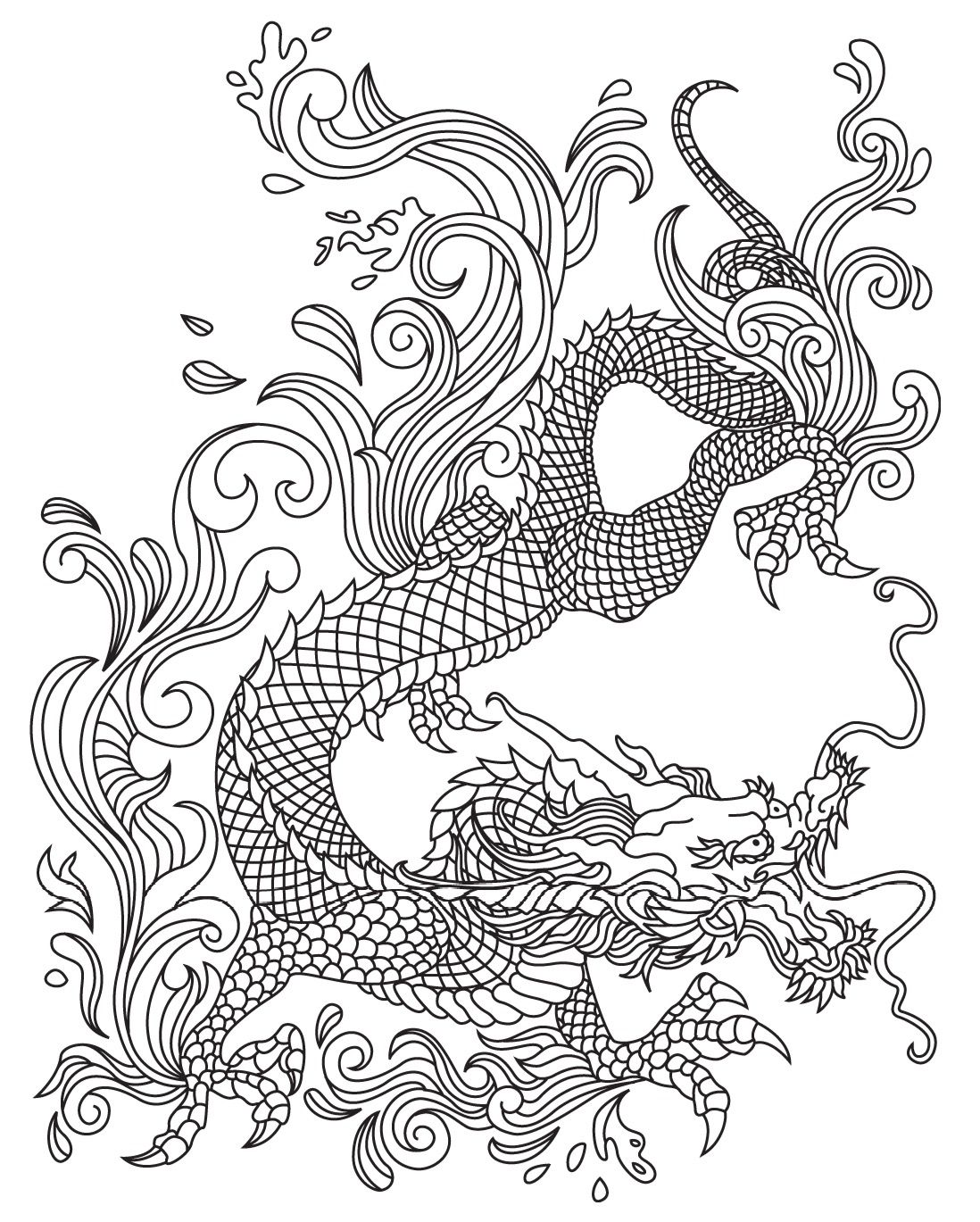 Japanese Dragon Colorish Coloring Book For Adults Mandala Relax