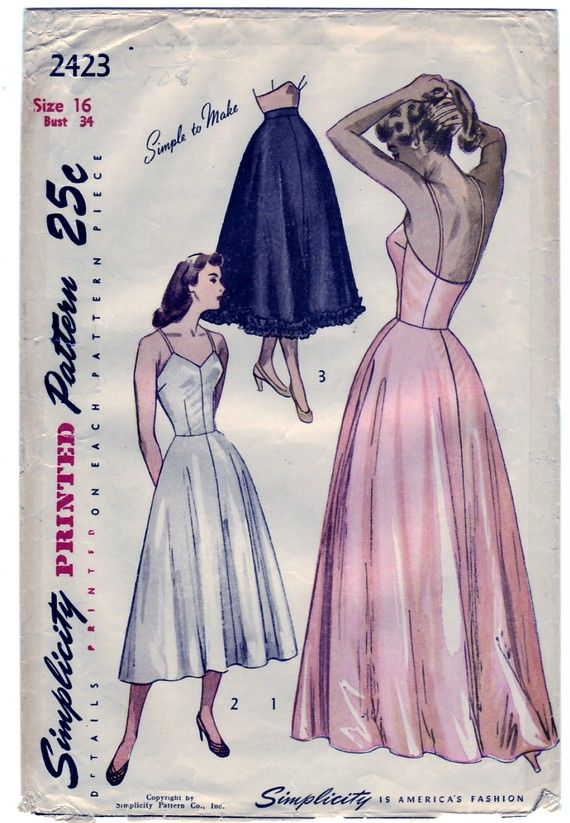 FREE SHIPPING Vintage 1948 Simplicity 2423 Sewing Pattern Misses' Slip Dress in Daytime and Evening Lengths and Petticoat Size 16 Bust 34