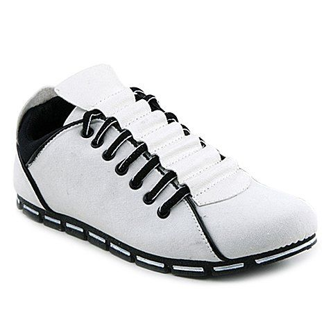 trendy round toe men's casual shoes with laceup and color