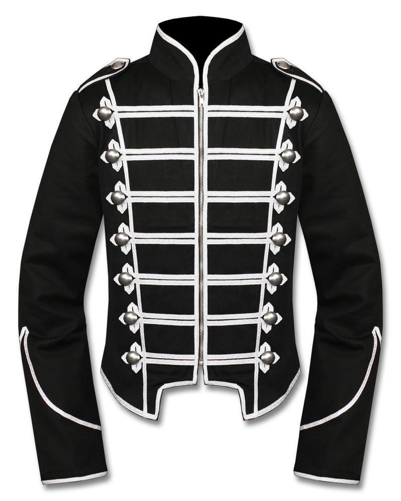 Unisex Gothic Steampunk Black Parade Military Marching Band Jacket Goth Punk Emo