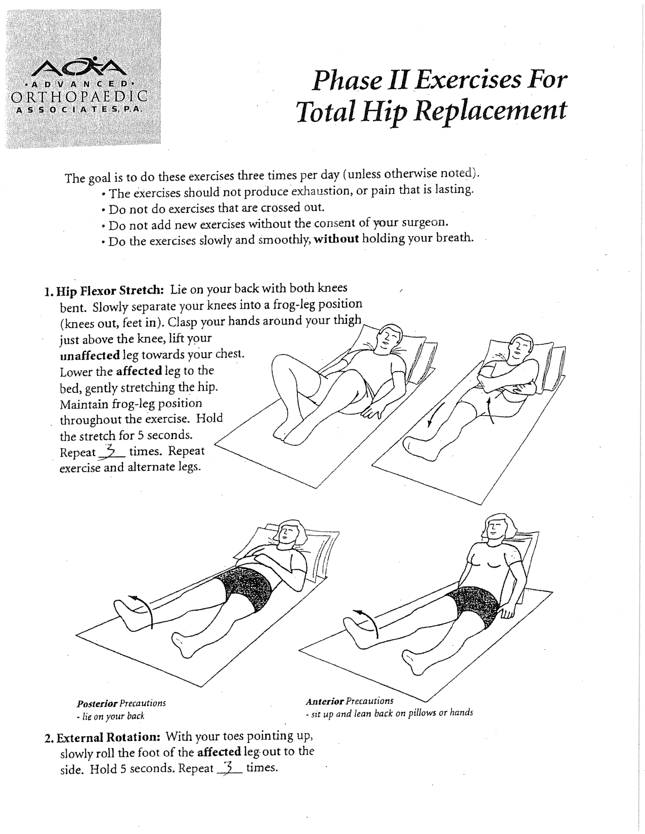 Posterior Total Hip Replacement Exercises Bing Images