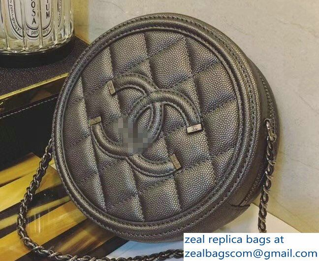a8427a03d8f201 Chanel CC Filigree Grained Round Clutch with Chain Bag A81599 Dark Silver  2018