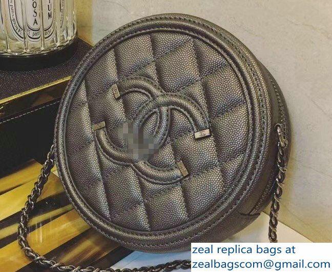4b0e16bf3e1f Chanel CC Filigree Grained Round Clutch with Chain Bag A81599 Dark Silver  2018