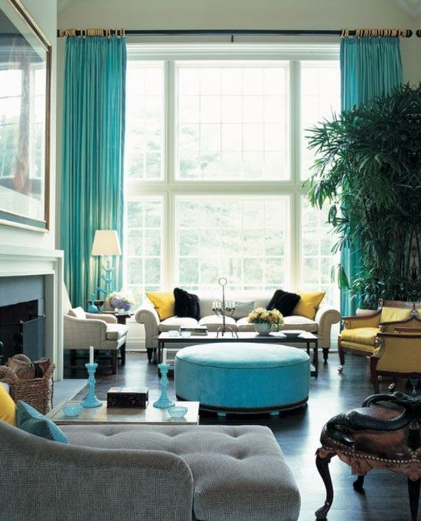 wohnzimmer gardinen modern vorhänge türkis | heidis wohnzimmer ... - Wohnzimmer Modern Turkis
