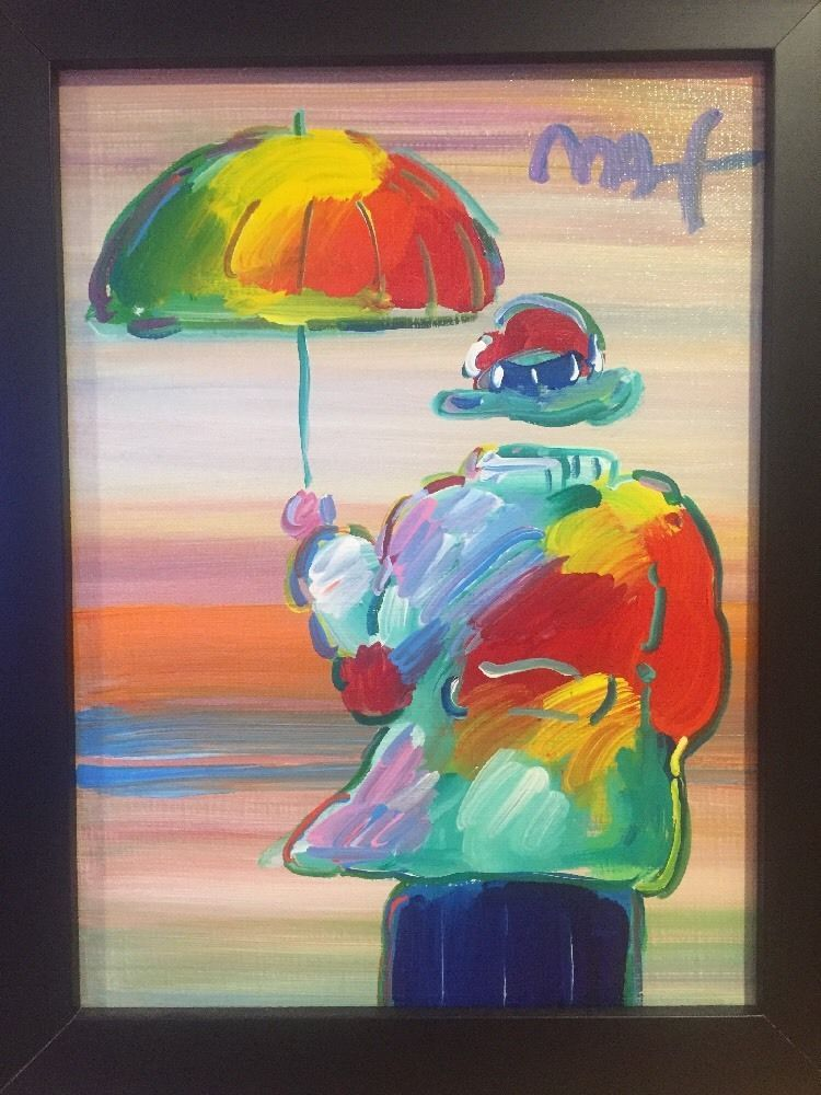Peter Max Umbrella Man Original Canvas Acrylic Signed COA