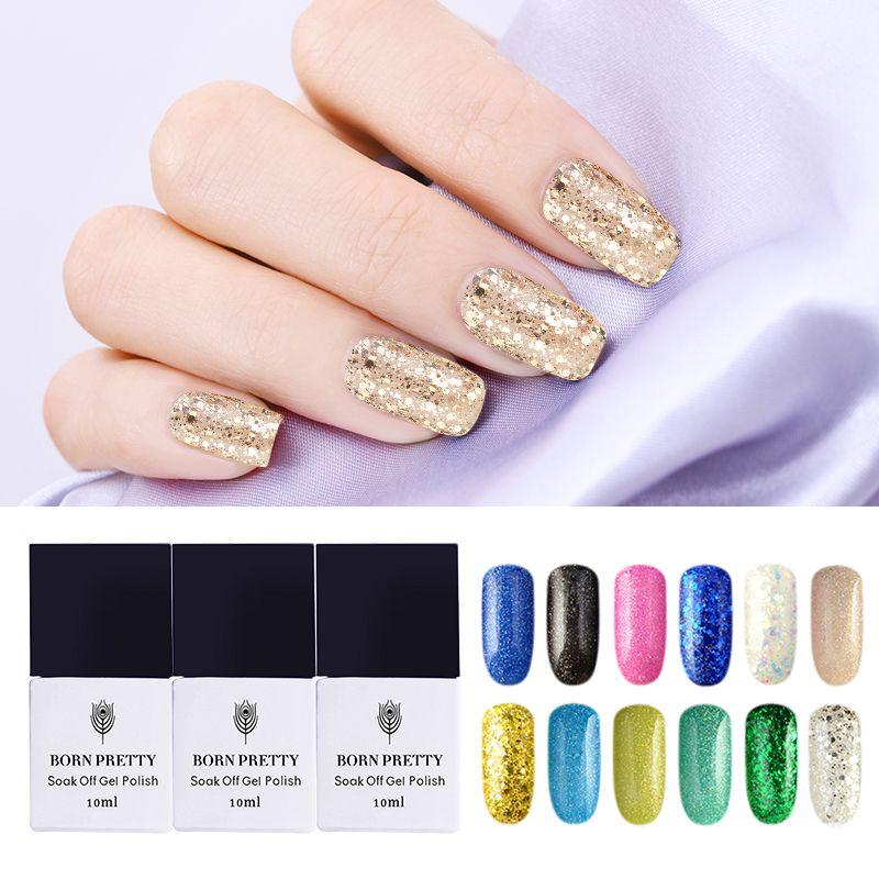 Promo BORN PRETTY Nail Glitter Gel Polish Set 10 ml Soak Off Shining 24 Colors UV Gel. Click visit to read descriptions #NailGel