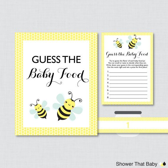 Bumble Bee Baby Shower Game Guess The Baby Food Activity In Yellow