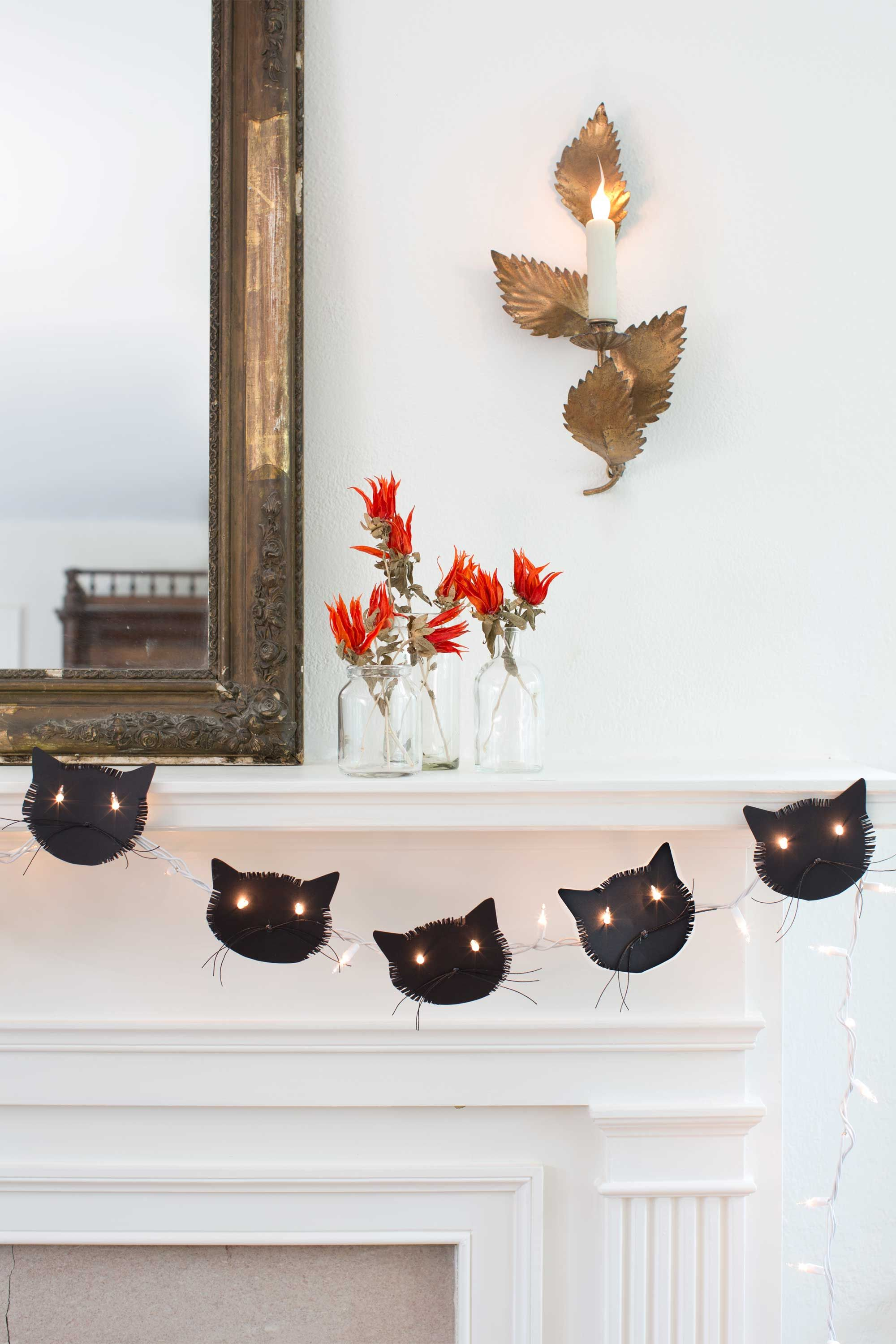 65+ of the Best Halloween Crafts Ever Cat face, Garlands and - fun halloween decorations