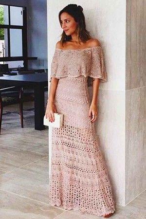 Vestido longo tricot bege