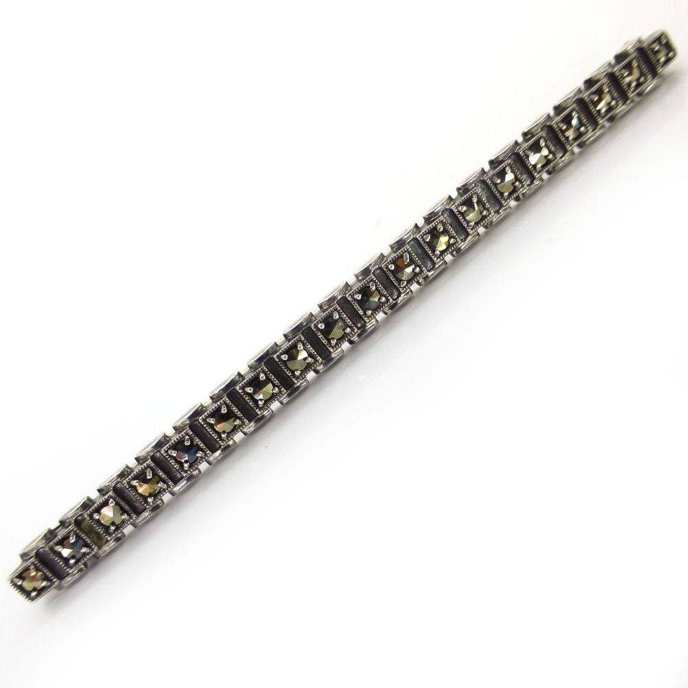 Vintage Silver Cube Marcasite Bar Pin Brooch | Clarice Jewellery | Vintage Costume Jewellery