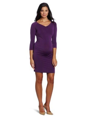 Three Seasons Maternity Women's Solid V-Neck Side Rouche Dress: Clothing