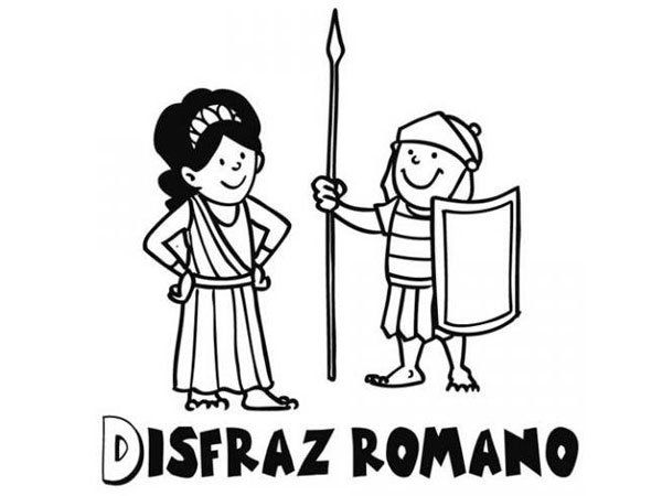 Dibujo de un disfraz de romano para pintar con niños en