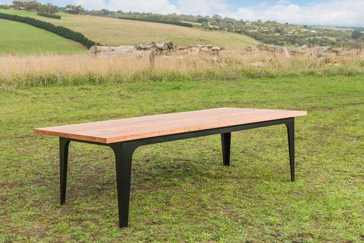 Modern Industrial Dining Table With Recycled Messmate Timber Top And Matte Black Powder Coated Metal Legs