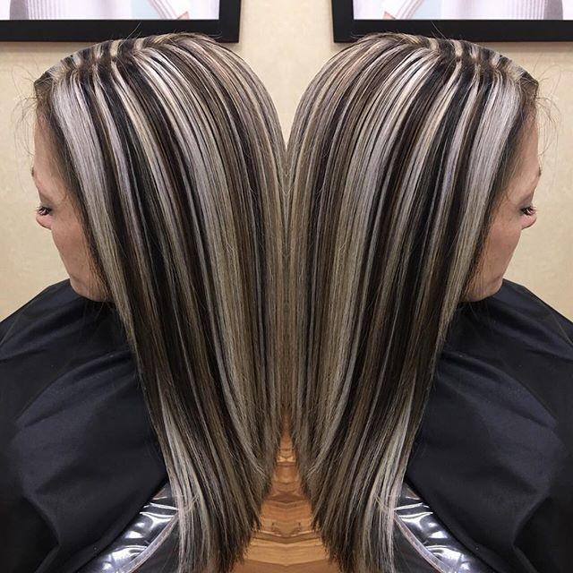 Websta Lashesa82 Hairstyles Chunkyhighlights Lowlightsandhigh Dark Hair With Highlights Black Hair With Blonde Highlights Blonde Highlights On Dark Hair