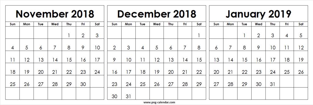 month of november calendar