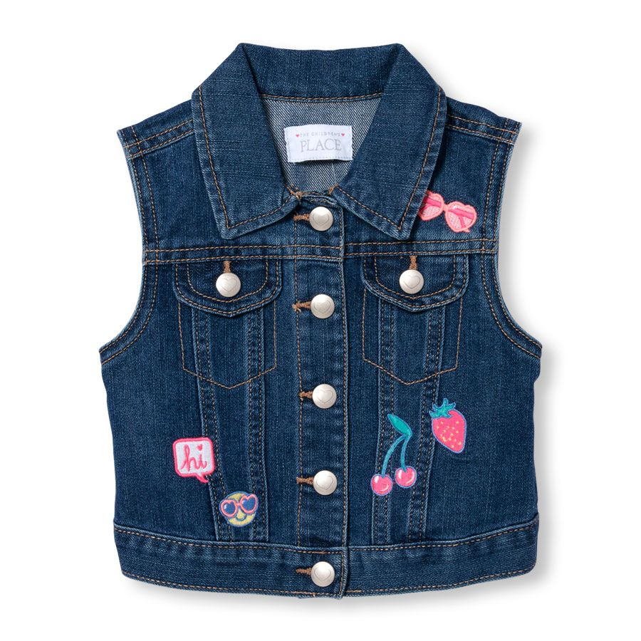 Toddler Girls Sleeveless Patch Denim Vest Jean Jacket For Girls Baby Girl Sweaters Clothes [ 900 x 900 Pixel ]