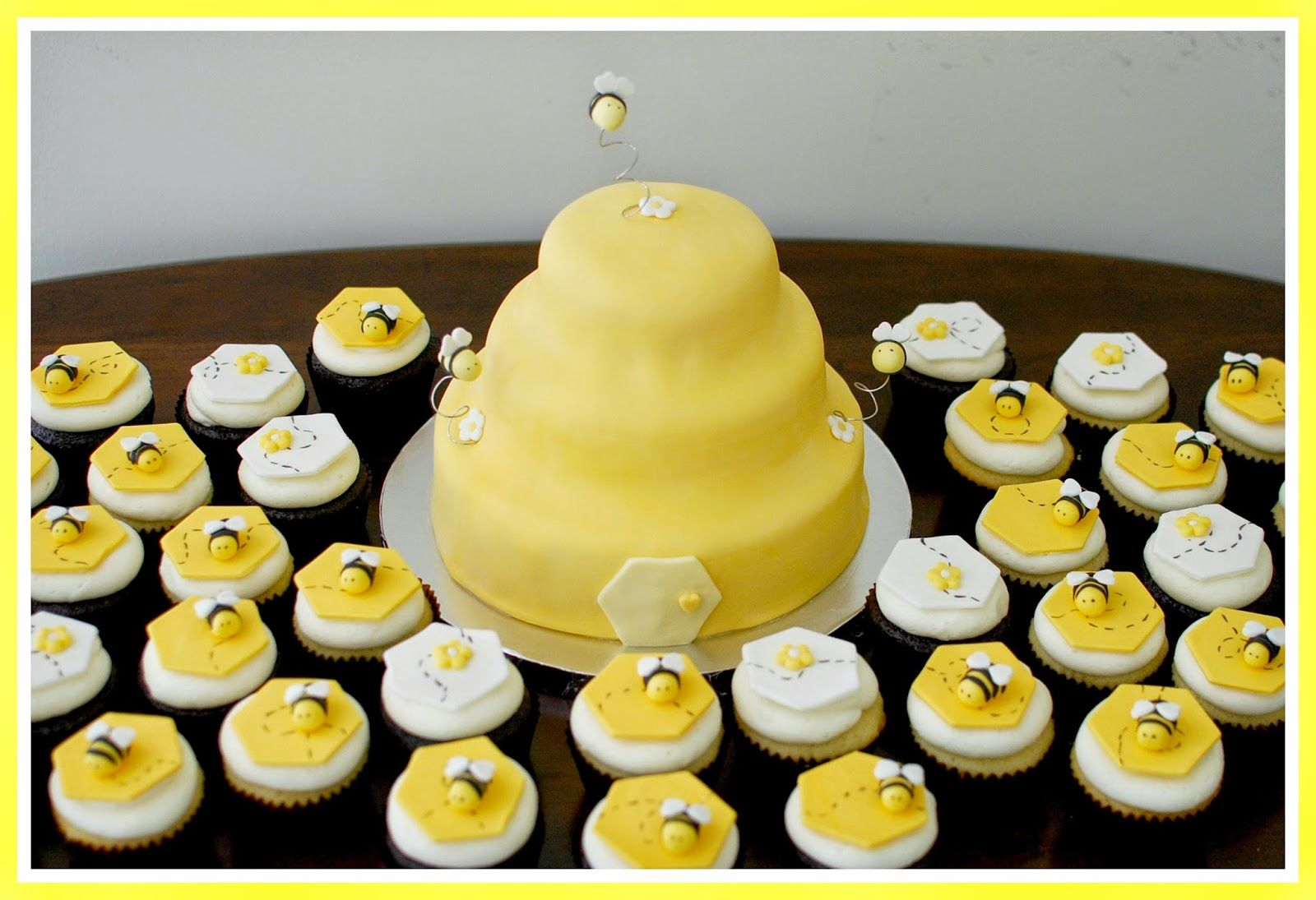 Snacky French Bumble Bee Baby Shower Cake Cupcakes