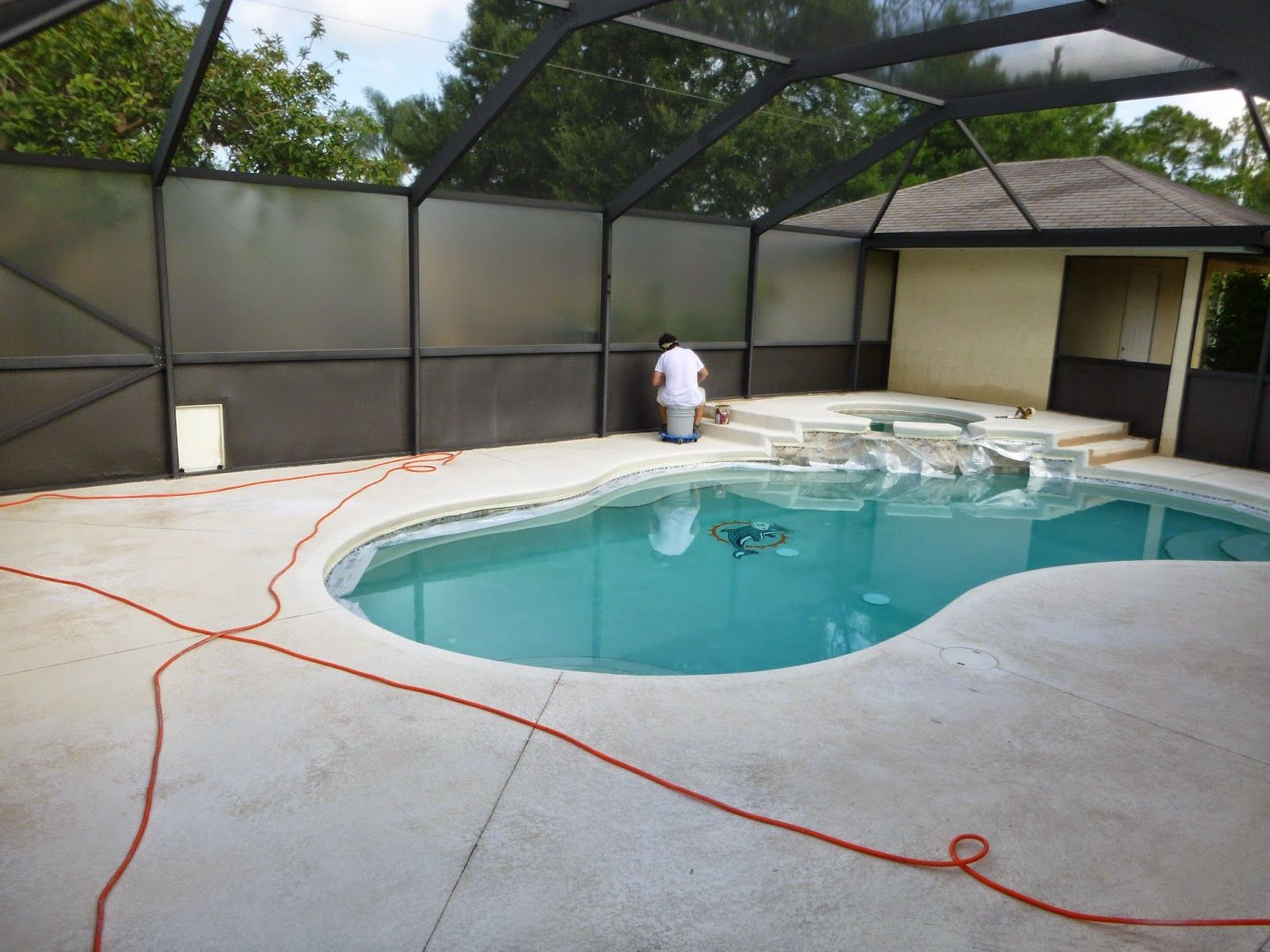 Painting Pool Patio Deck Using H C Solid Color Concrete Stain With Images Pool Patio Patio Deck Pool