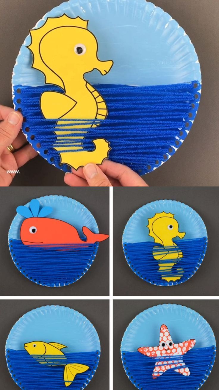 Photo of Make a yarn and paper plate of ocean crafts for kids this summer. An interactive …