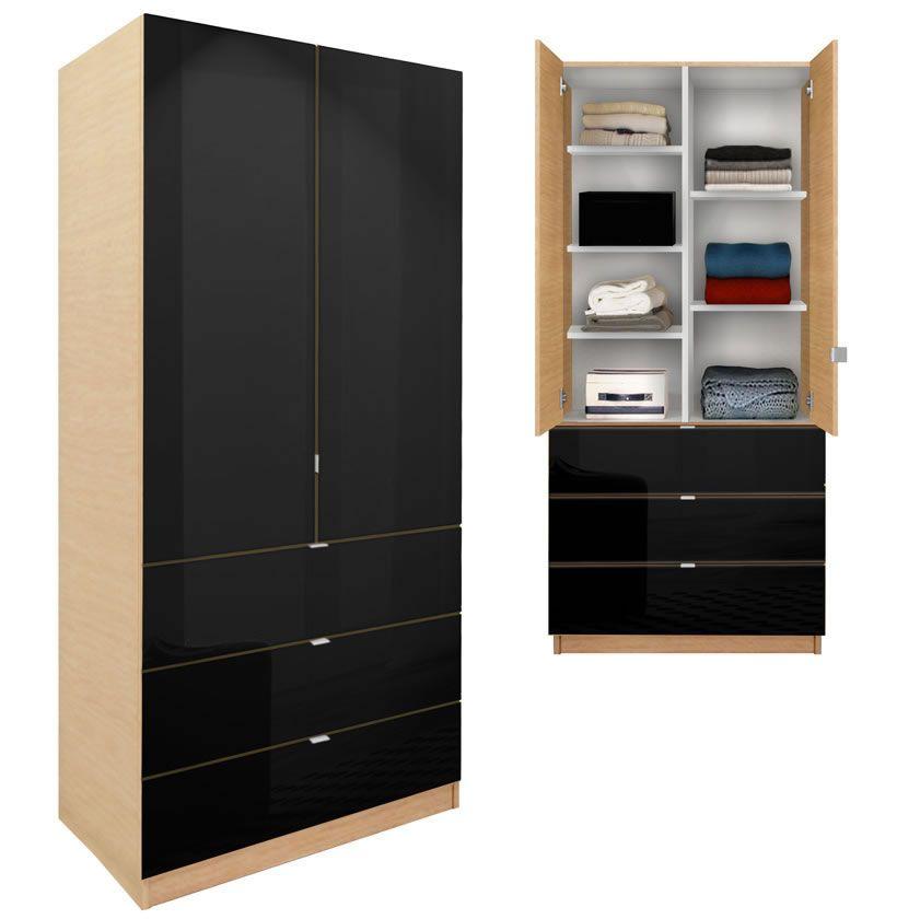 Alta Wardrobe Armoire   Adjustable Shelves, 3 Drawers
