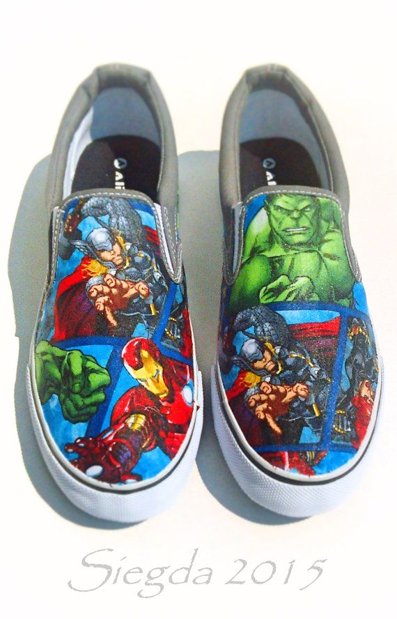 04eb0ab4e3c347 Marvel II-Mens Slip On-Hulk-Comic book-Hawkeye-Captain America-Iron  Man-Spiderman-Black Widow-Custom Decoupage Shoes-boyfriend gift-