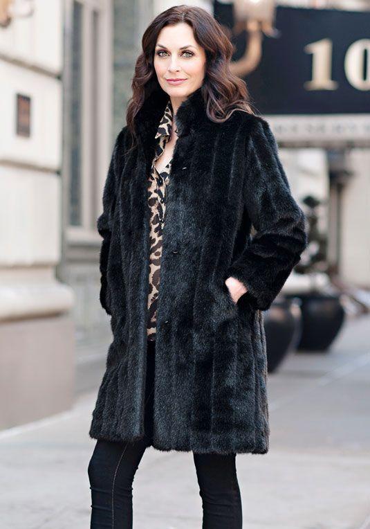 6469633dcad Black Mink Signature Knee-Length Faux Fur Coat   krystyna's Style ...