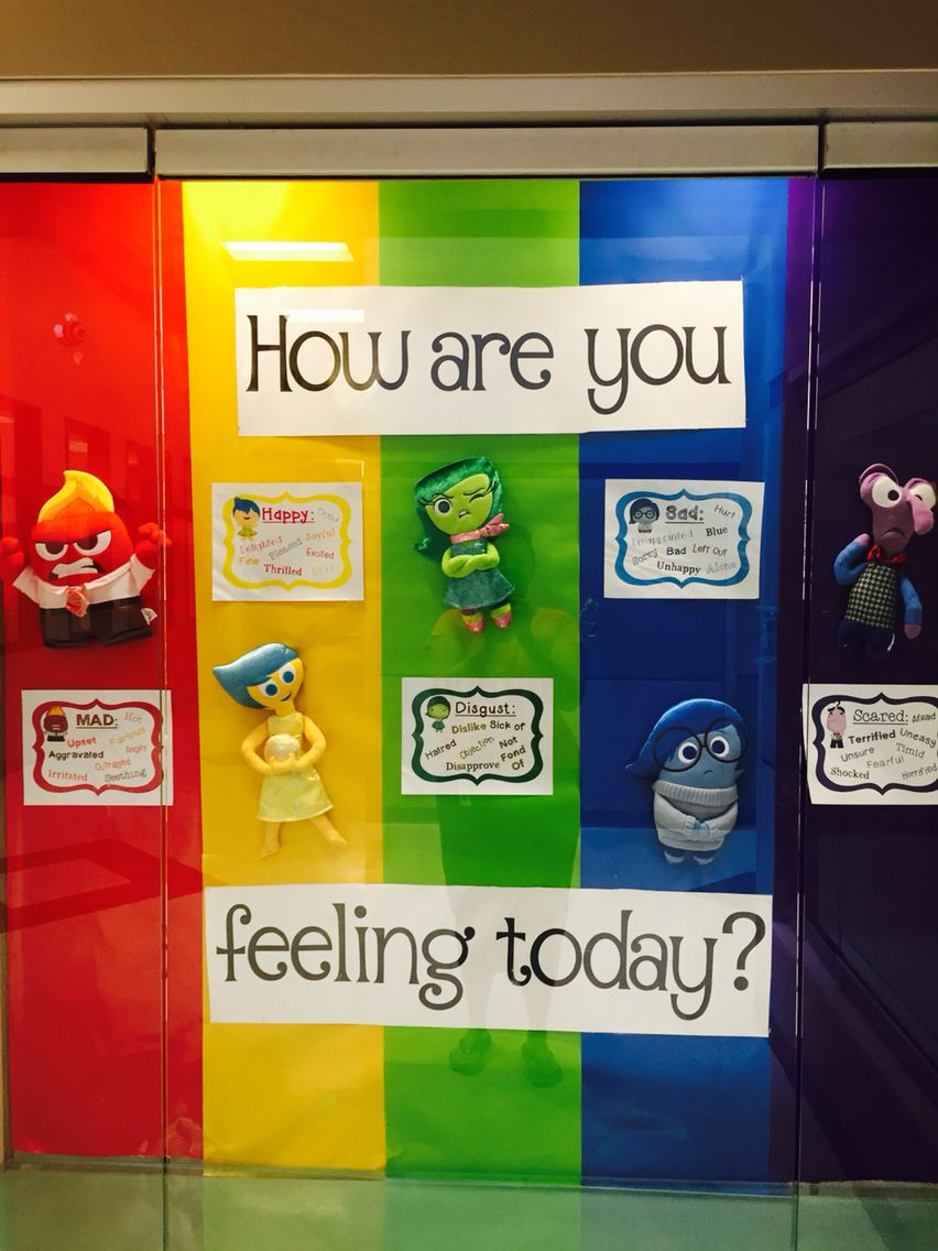 Classroom Ideas For Using Superflex ~ Inside out bulletin board using plush figures purchased at