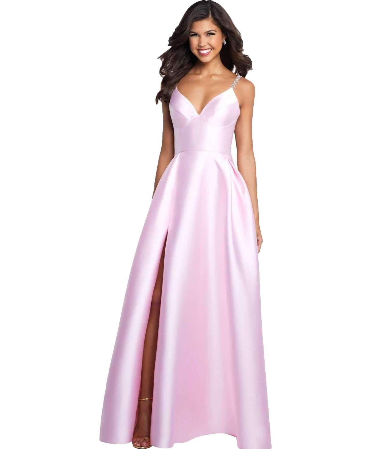 766d6e75b18d YGSY Women's Deep V Neck Spaghetti Straps Beaded Slit Satin A-line Evening  Prom Dress Long Formal Party Gown with Pockets