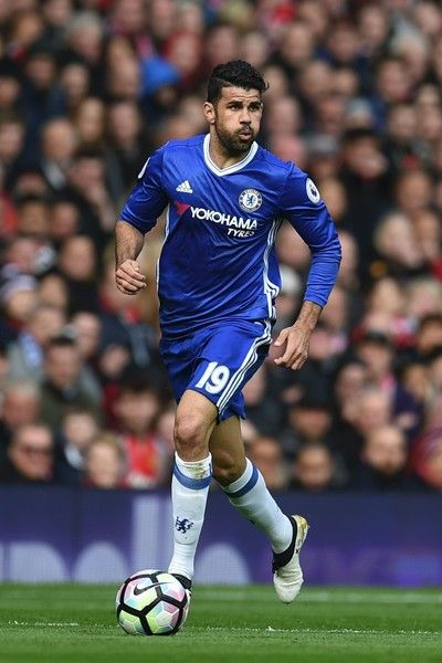 Chelsea's Brazilian-born Spanish striker Diego Costa controls the ball during the English Premier League football match between Manchester United and Chelsea at Old Trafford in Manchester, north west England, on April 16, 2017. / AFP PHOTO / Oli SCARFF / RESTRICTED TO EDITORIAL USE. No use with unauthorized audio, video, data, fixture lists, club/league logos or 'live' services. Online in-match use limited to 75 images, no video emulation. No use in betting, games or single club/league/player pu