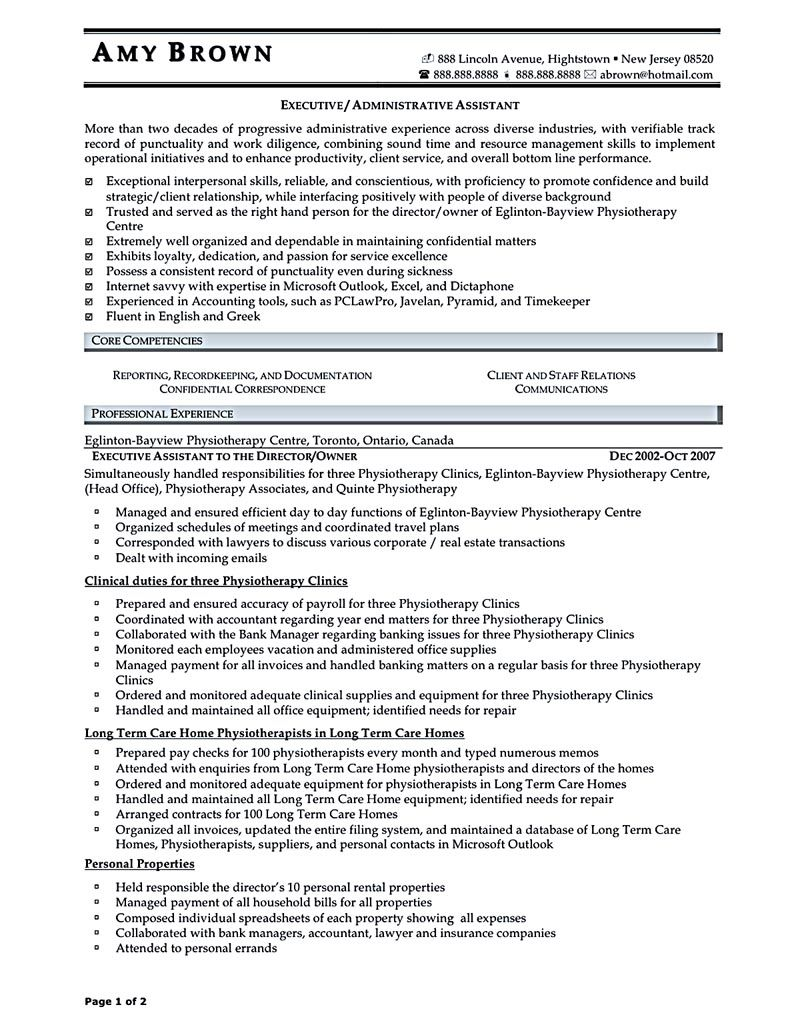 sample executive assistant resume Executive assistant