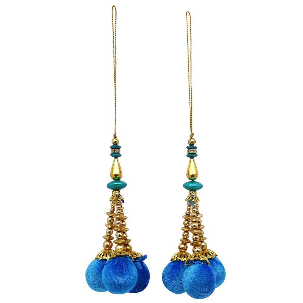 Decorative Accessory Pom Pom Tassels Yellow Blouse Sari Latkans Sewing 1 Pair