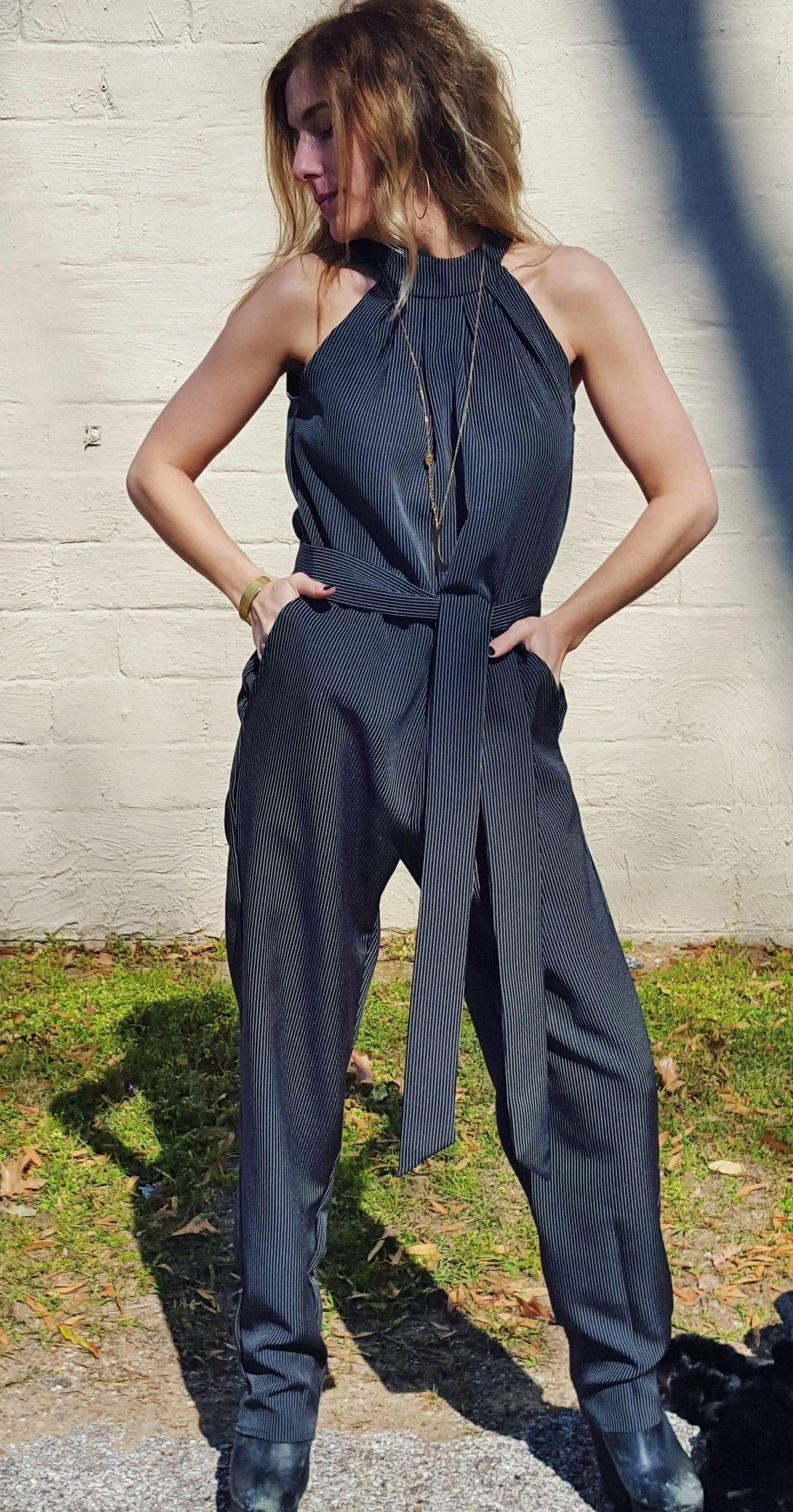 Amazing Menswear Inspired Black Pinstripe Jumpsuit Open Back Shown